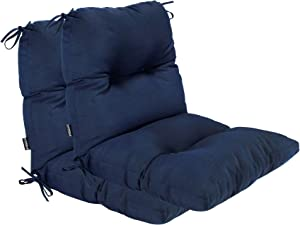 BOSSIMA Outdoor Indoor High Back Chair Tufted Cushions Comfort Replacement Patio Seating Cushions Set of 2 Navy Blue
