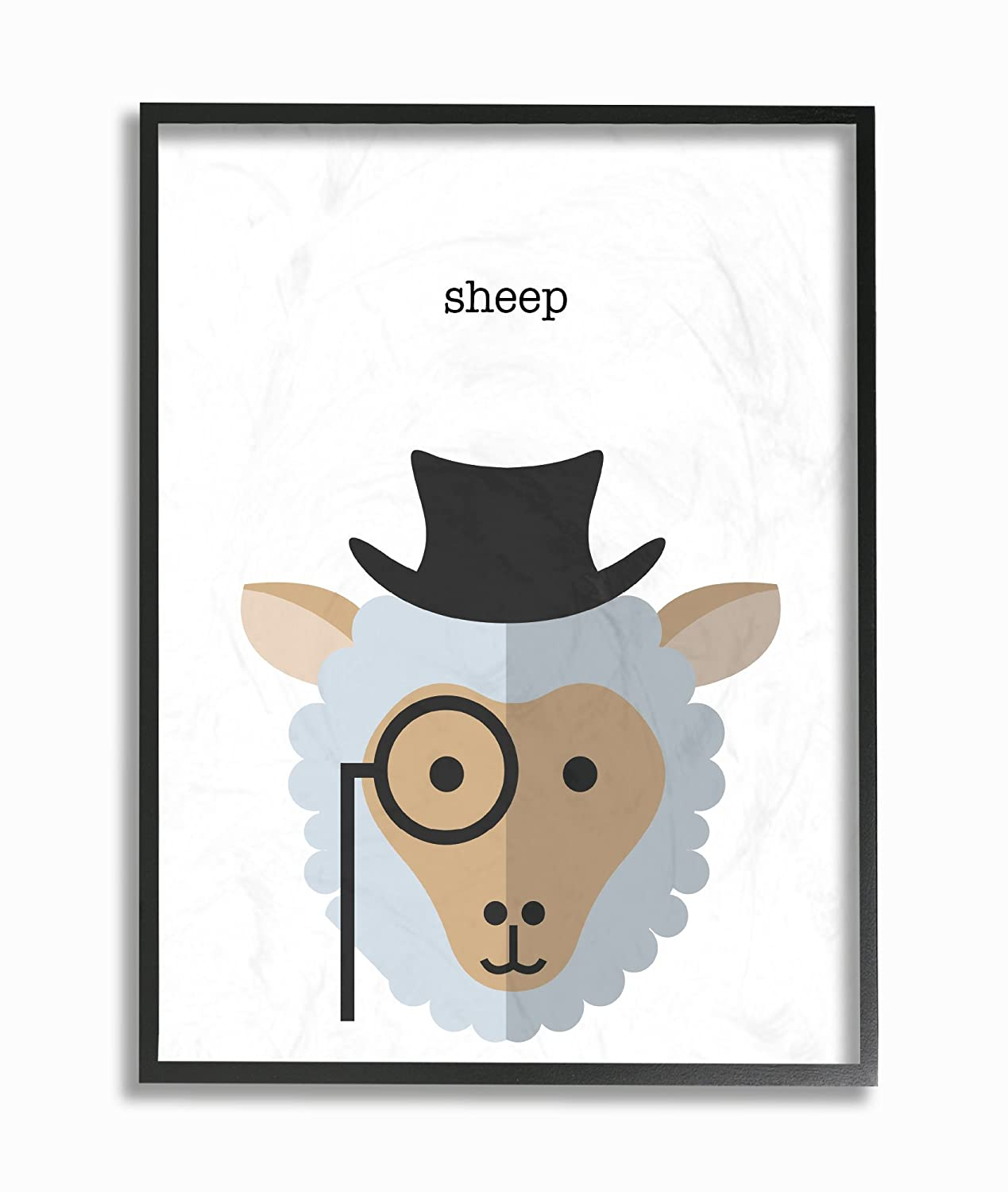 Stupell Home D/écor Typographic Hipster Sheep Oversized Framed Giclee Texturized Art 16 x 1.5 x 20 Proudly Made in USA