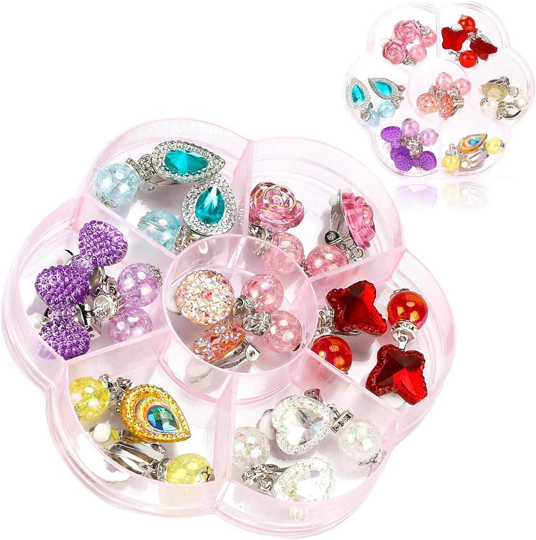 Hifot 7 Pares Pendientes de Clip Pendientes de diseño sin Perforaciones Vestir Accesorios de joyería Princesa para niñas niños pequeños en 2 Cajas claras