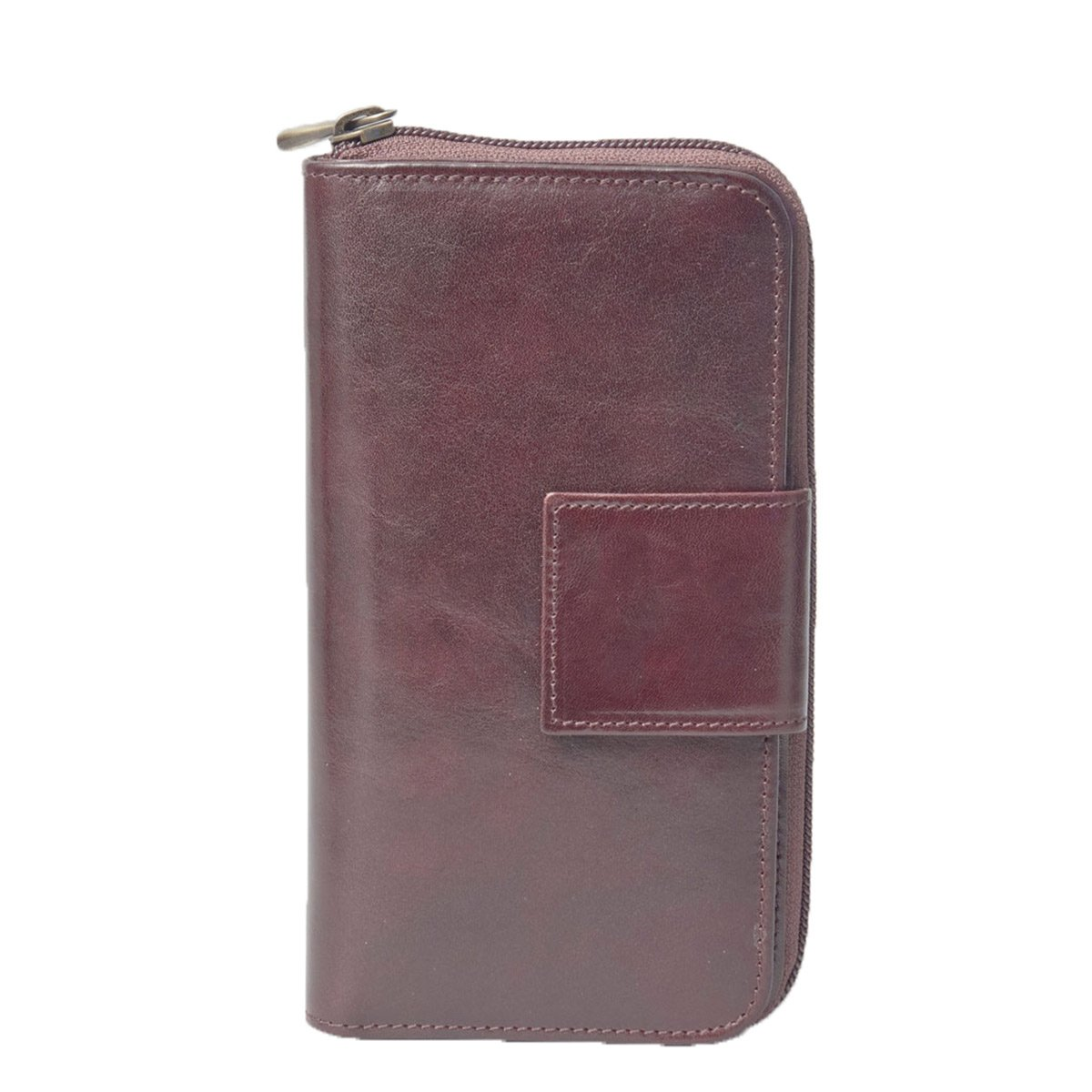 Maxwell Scott Luxury Leather Brown Zip Wallet for Ladies - Large (The Giorgia)