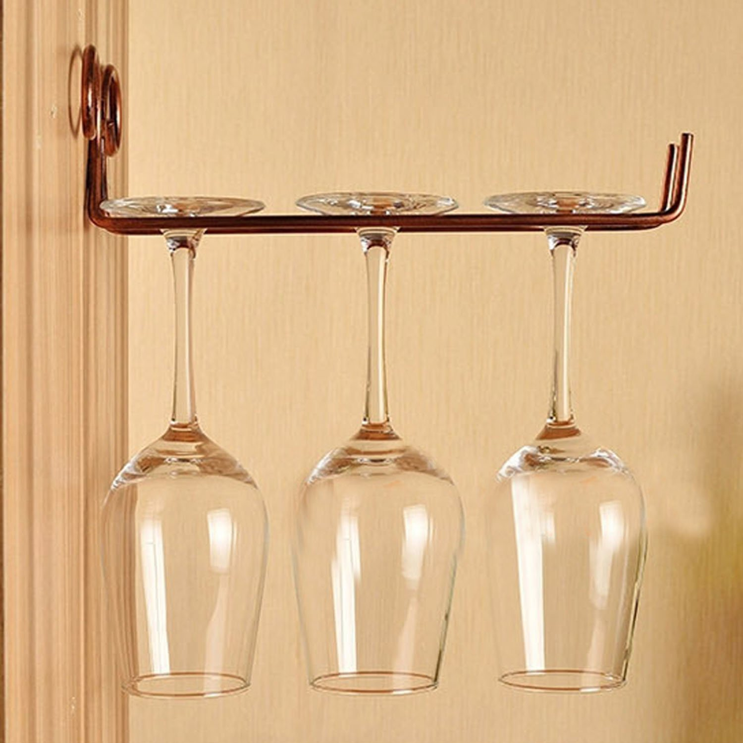 Kangkang@ Classical Single Row Wall Wine Goblet Glass Shelf Stemware Hanging Rack Holder for Bar Dining Home Decoration by Kangkang
