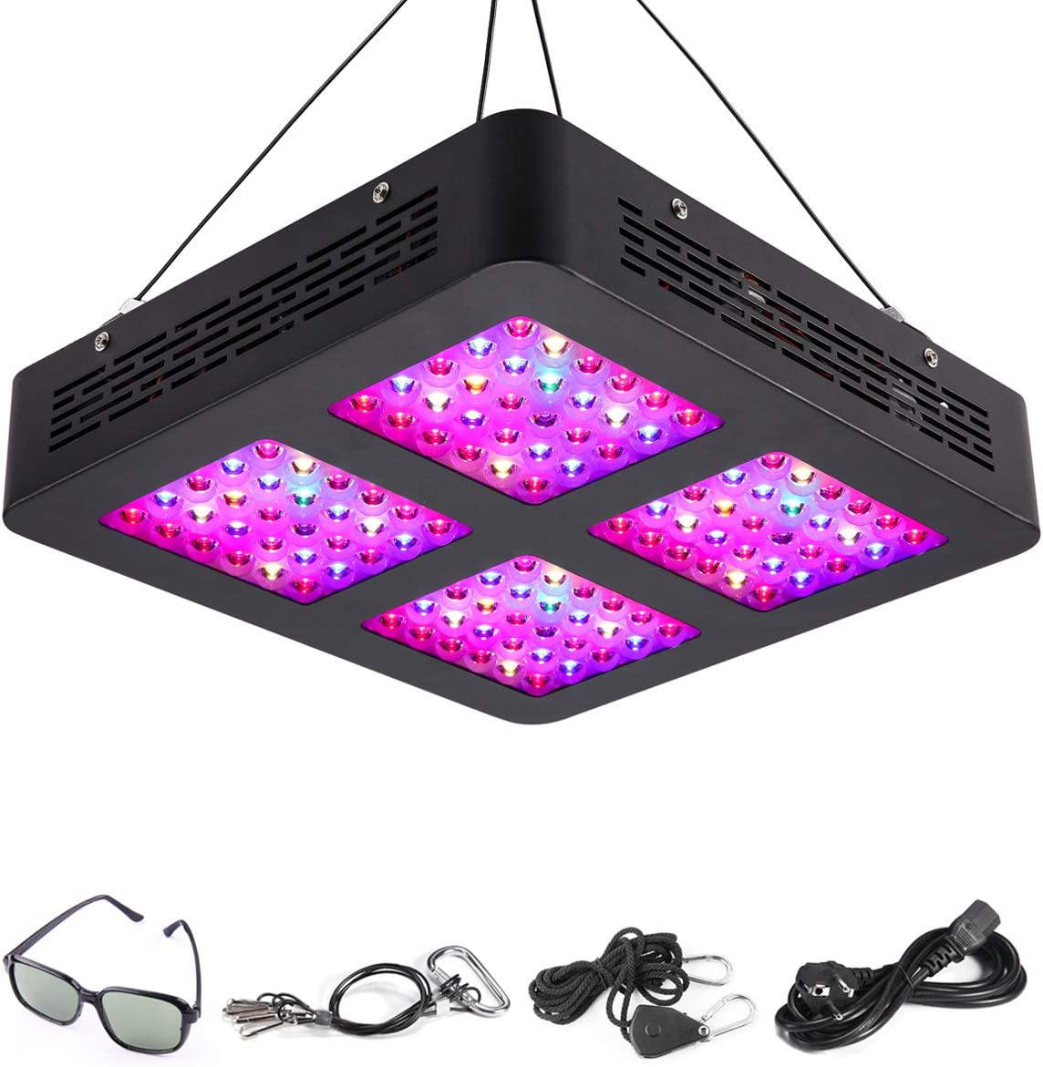HKUU 600W LED Grow Light for Indoor Plants, Full Spectrum Growing Lamp for Hydroponic Indoor Plants Veg and Flower with Daisy Chain Triple-Chips and Goggle