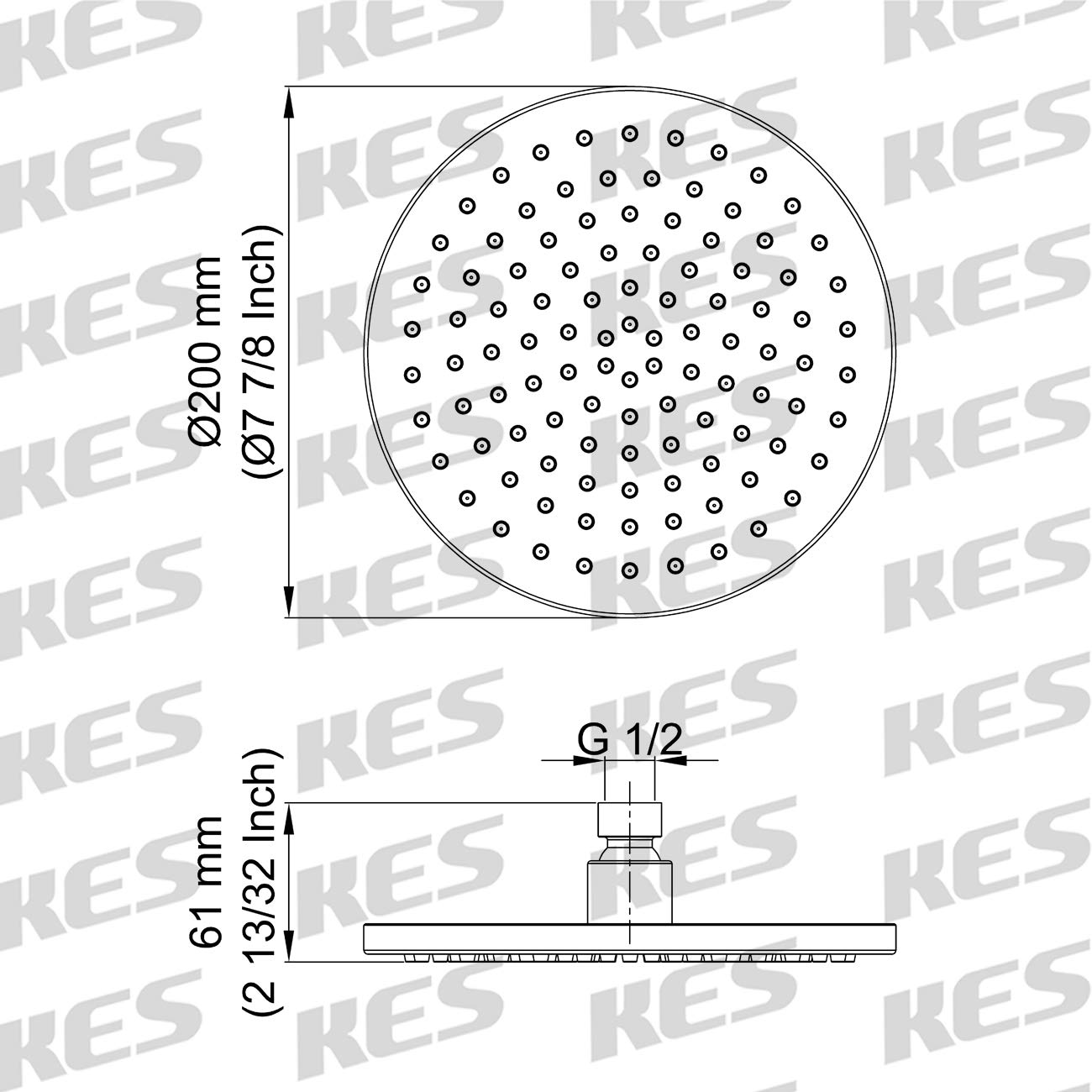 J203S8-BK Black KES All SUS304 Stainless Steel Rain Shower Head 8-Inch with Swivel Ball Joint Rainfall High Flow Shower System Contemporary Style