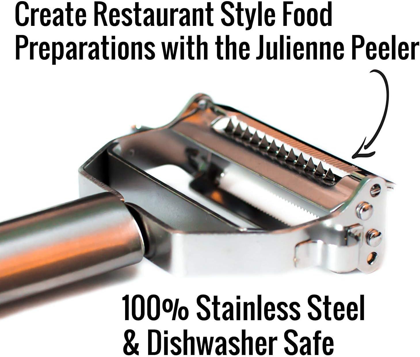UberChef Erg Premium Ultra Sharp Julienne Peeler & Vegetable Stainless Steel Ergonomic, Potato Apple Peeler-Cleaning Brush In, Silver: Kitchen & Dining