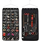 IDecHome Hanging Jewlery Organizer, Dual Sided Pockets Hooks Non-Woven Storage Bag, Black