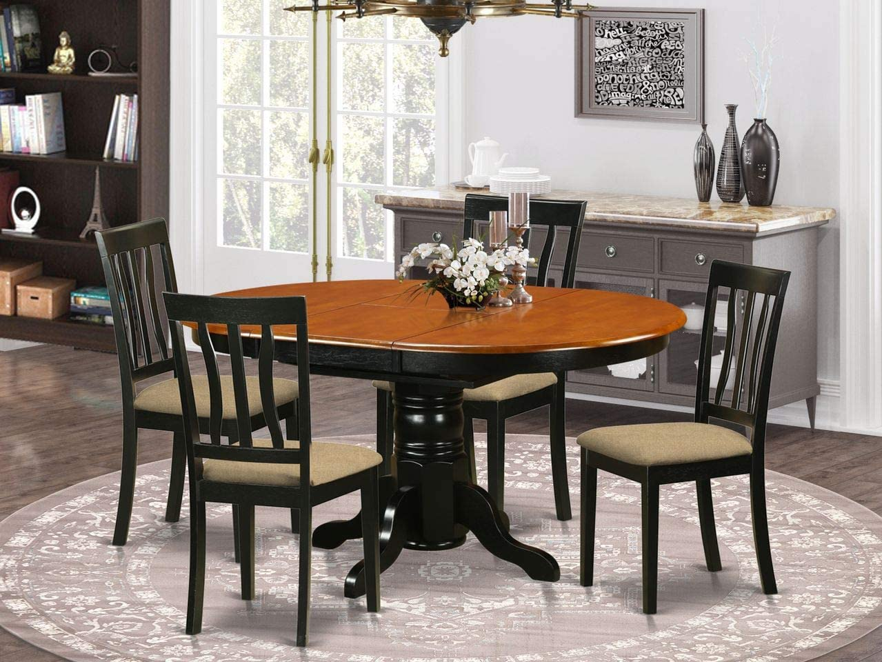 East West Furniture Avat5 Blk C Mid Century Dining Table Set 4 Amazing Wooden Chairs A Stunning Wood Dining Table Linen Fabric Seat Black And Cherry Finish Butterfly Leaf Kitchen Table
