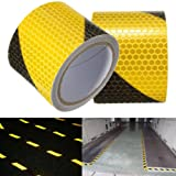 KING DO WAY Black Yellow Reflective Safety Warning Conspicuity Tape Film Sticker 300cm x 5cm