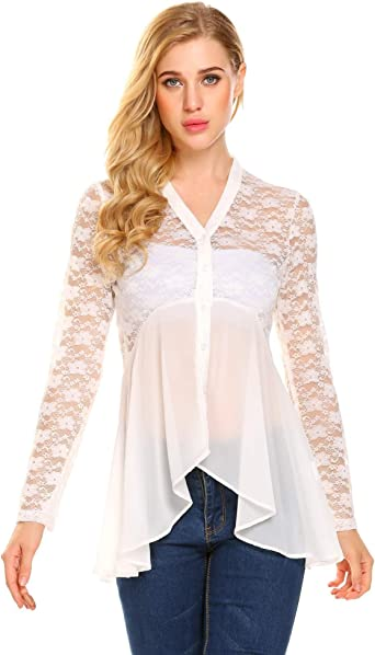 Women/'s Fitted Lace Shirt Long Sleeve Blouse Partly transparent floral lace