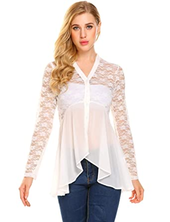 e72e13ab12 Yhlovg Womens Sexy Sheer Blouse Button Up Chiffon Lace V Neck Shirt Top  White Small