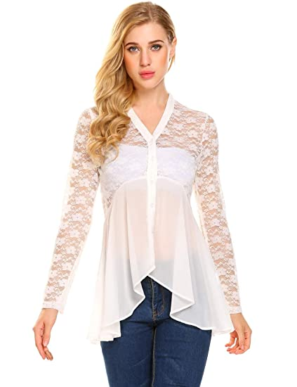 Yhlovg Womens Long Sleeve Blouse Button Up Chiffon Lace Sheer Flowy