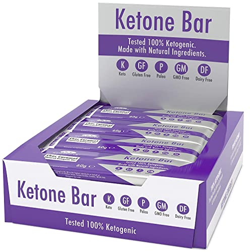 Ketone Bar 12 X 60g Keto Bars with All Natural Ingredients Keto Snacks for Keto Diet 3.1 Net Carbs per Bar Truly Ketogenic Gluten Dairy Free Choc Caramel Flavour Ketosource