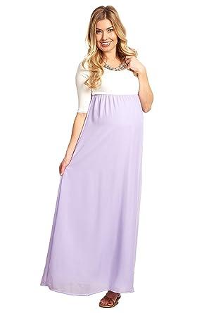0e0a5de6d44e Image Unavailable. Image not available for. Color: PinkBlush Maternity  Lavender Chiffon Colorblock Maternity Maxi ...