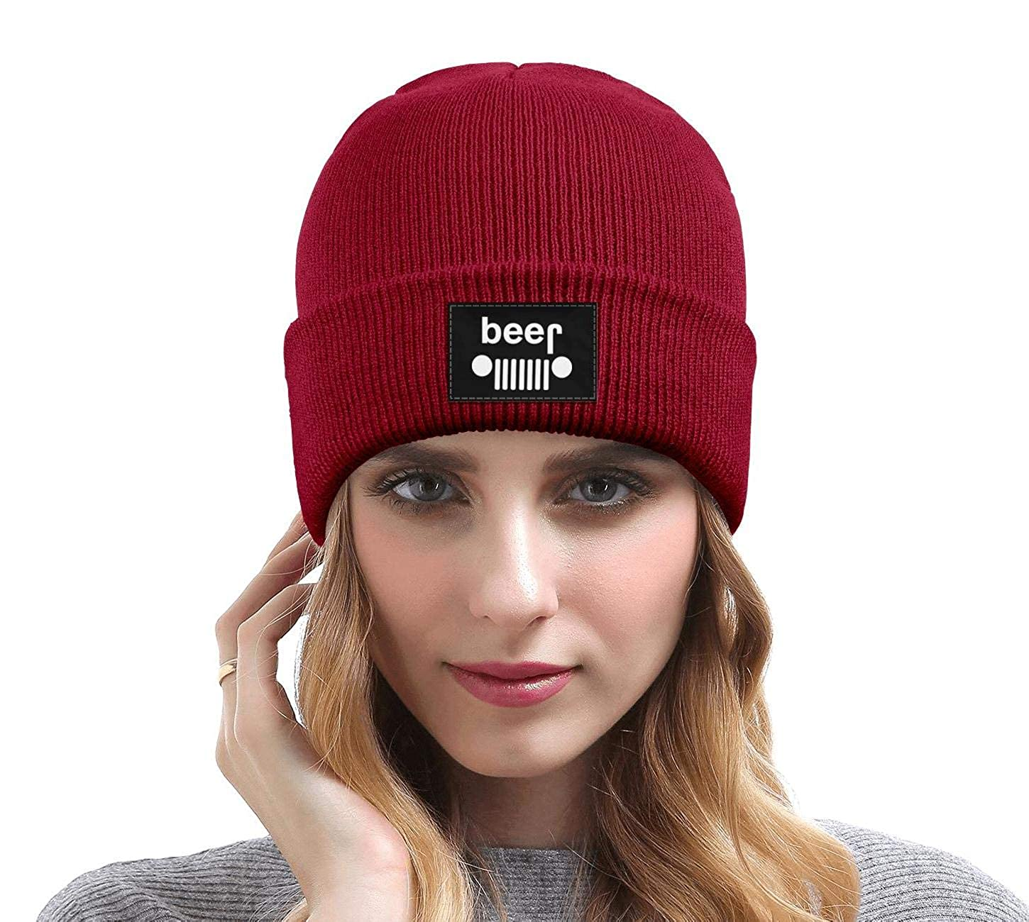 Unisex Beer Off-Roading Party Spoof Drinking Knit Cap Winter Warm Knit Caps for Mens Womens
