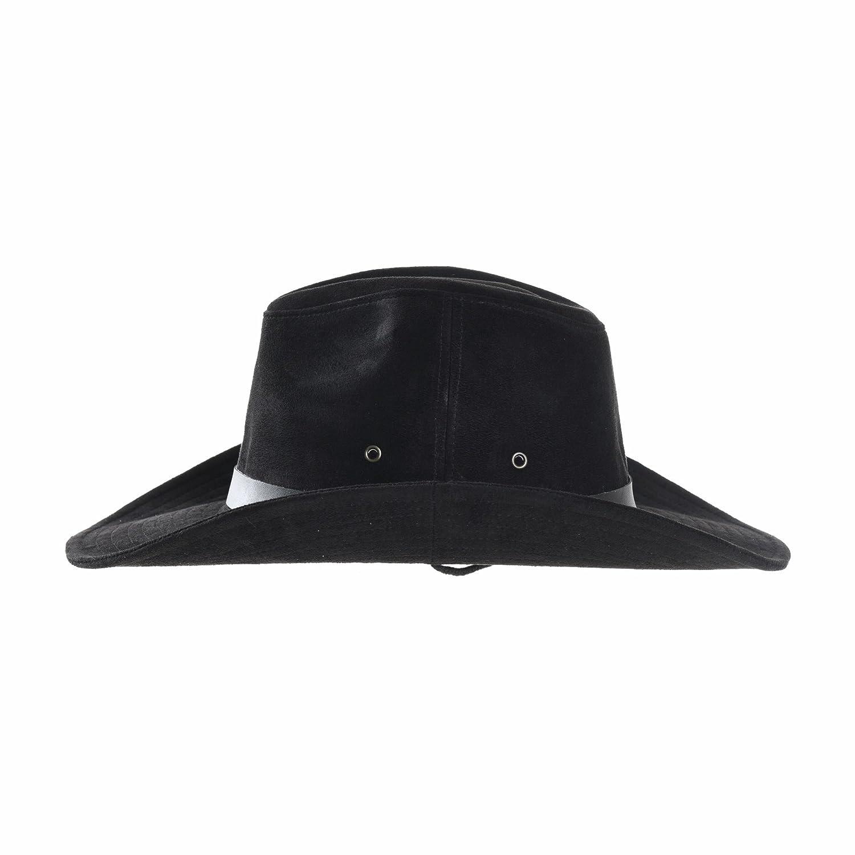 WIM Cowboy Cappello a Tesa Larga Faux Leather Indiana Jones Hat Outback Hat Fedora CD8859
