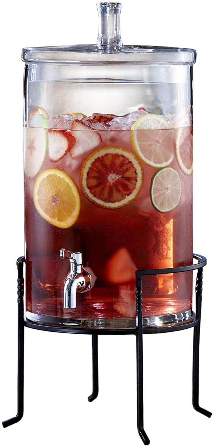 Style Setter 210947-GB Glass Beverage Drink Dispenser with Metal Stand & Glass Lid, 11.2x19.6, Clear