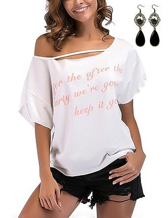 da6a23bf5e14fa WAEKIYTL Women s Loose Off Shoulder T Shirt Casual Batwing Sleeve Tops  Blouse at Amazon Women s Clothing store