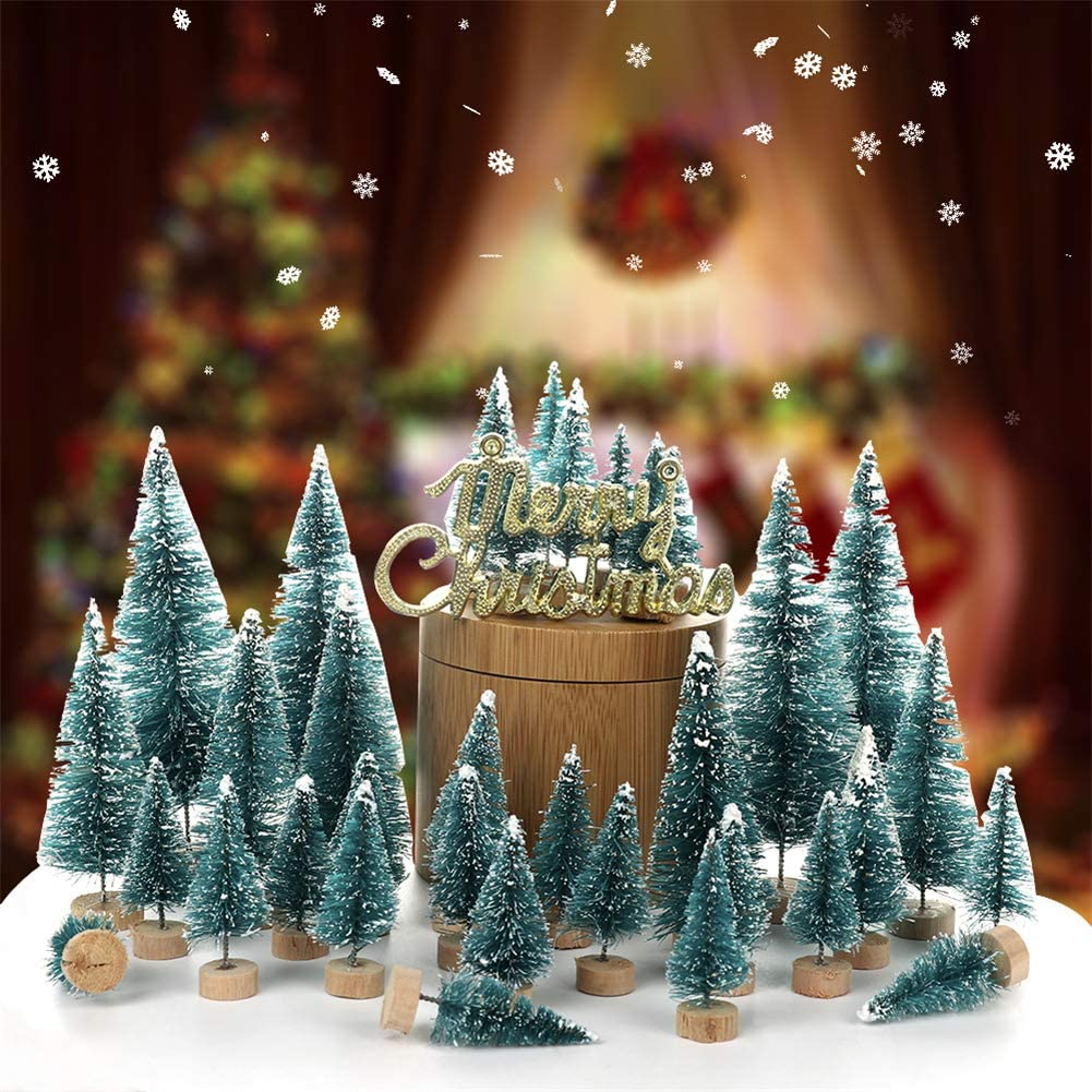 GUOfeudallord Mini Christmas Trees, 55pcs Artificial Frosted Sisal Christmas Tree Wood Base DIY Crafts Mini Pine Tree for Christmas Home Table Top Decor
