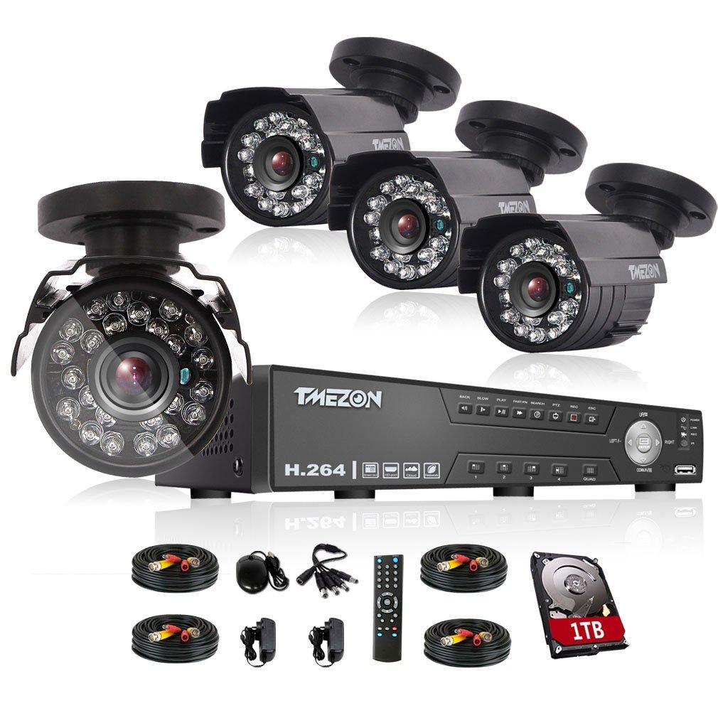 TMEZON AHD防犯カメラ4台セット 130万画素 赤外線LED24個 3.6MMレンズ&AHD レコーダー 1TB HDD付き(ブラック) B01J0ZKWZI バラックカメラ4台+4CHレコーダー(1TB HDD付き) バラックカメラ4台+4CHレコーダー(1TB HDD付き)