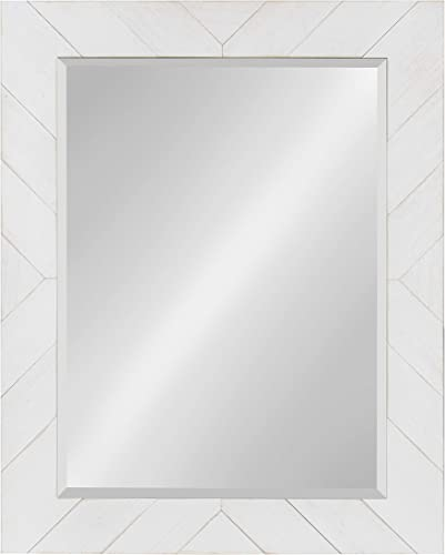 DesignOvation Rost Pieced Wood Framed Wall Accent Mirror, 23.5×29.5, White