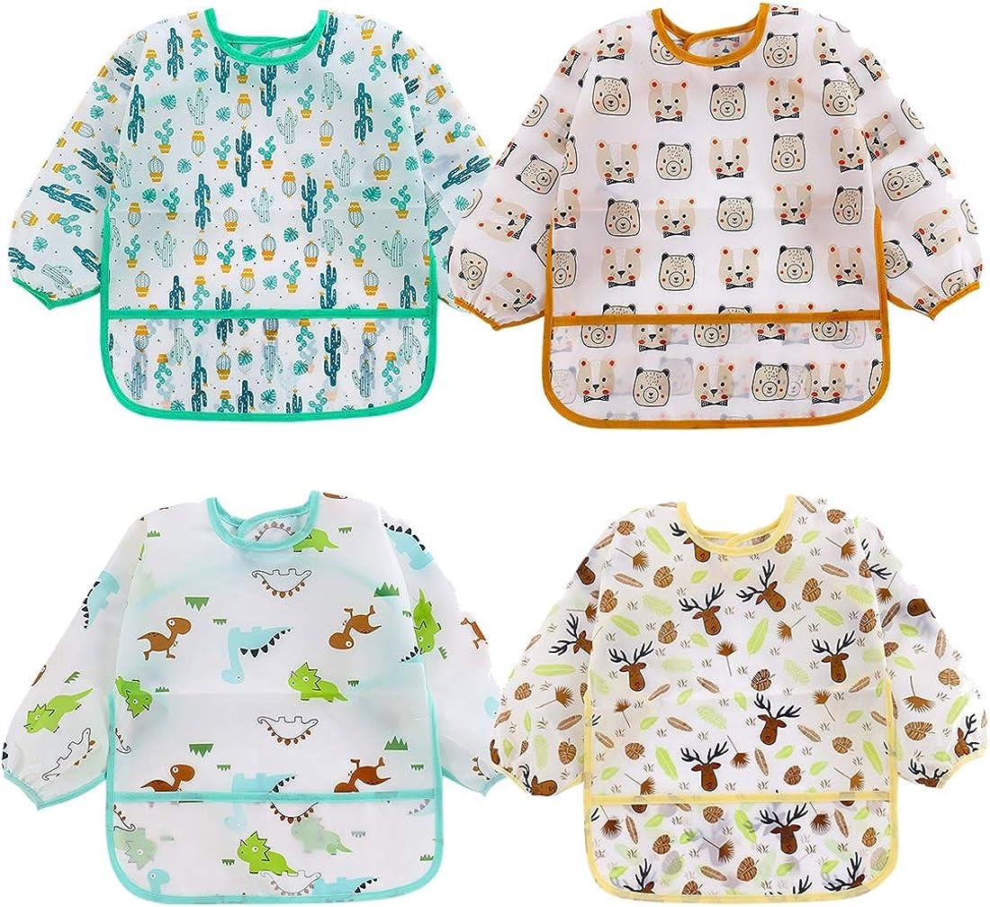 HaimoBurg 4 Pcs Long Sleeved Baby Bibs Waterproof Sleeved Bib 8-36 Months