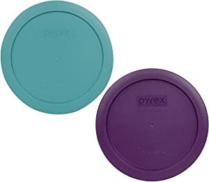 Pyrex 7201-PC 4 Cup (1) Turquoise (1) Purple Round Plastic Lids - 2 Pack
