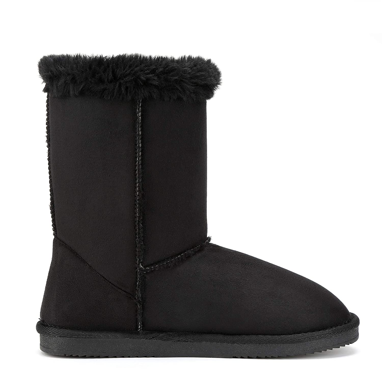 FUNKYMONKEY Womens Winter Classic Suede Imitation Wool Lined Snow Boot