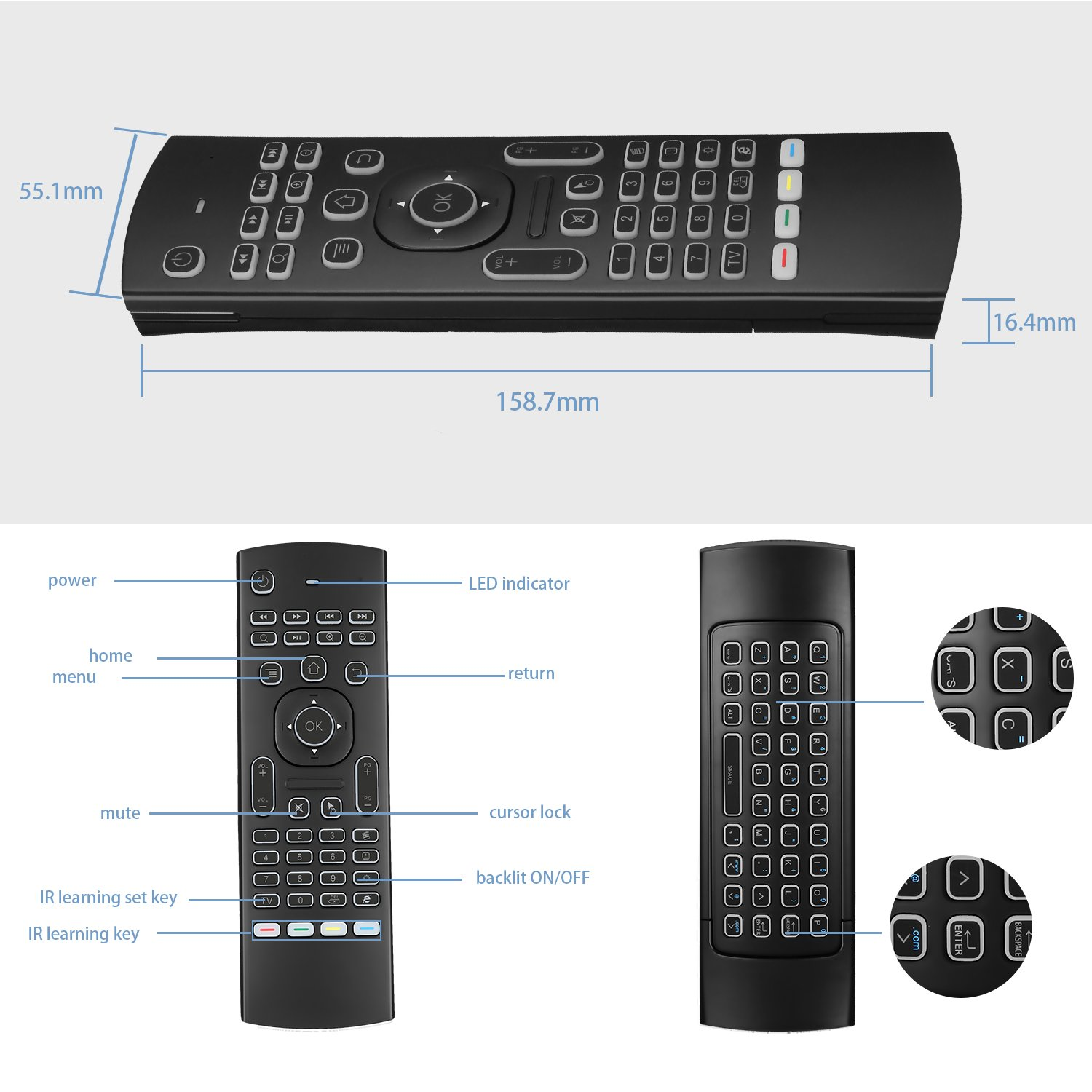mx3 Backlight Ilebygo MX3 Pro Backlight Air Remote Mouse,Android TV Remote Control,IR Learning Fly Air Remote Mouse for Android TV Box.HTPC.IPTV.Pad.PS3//PS4.