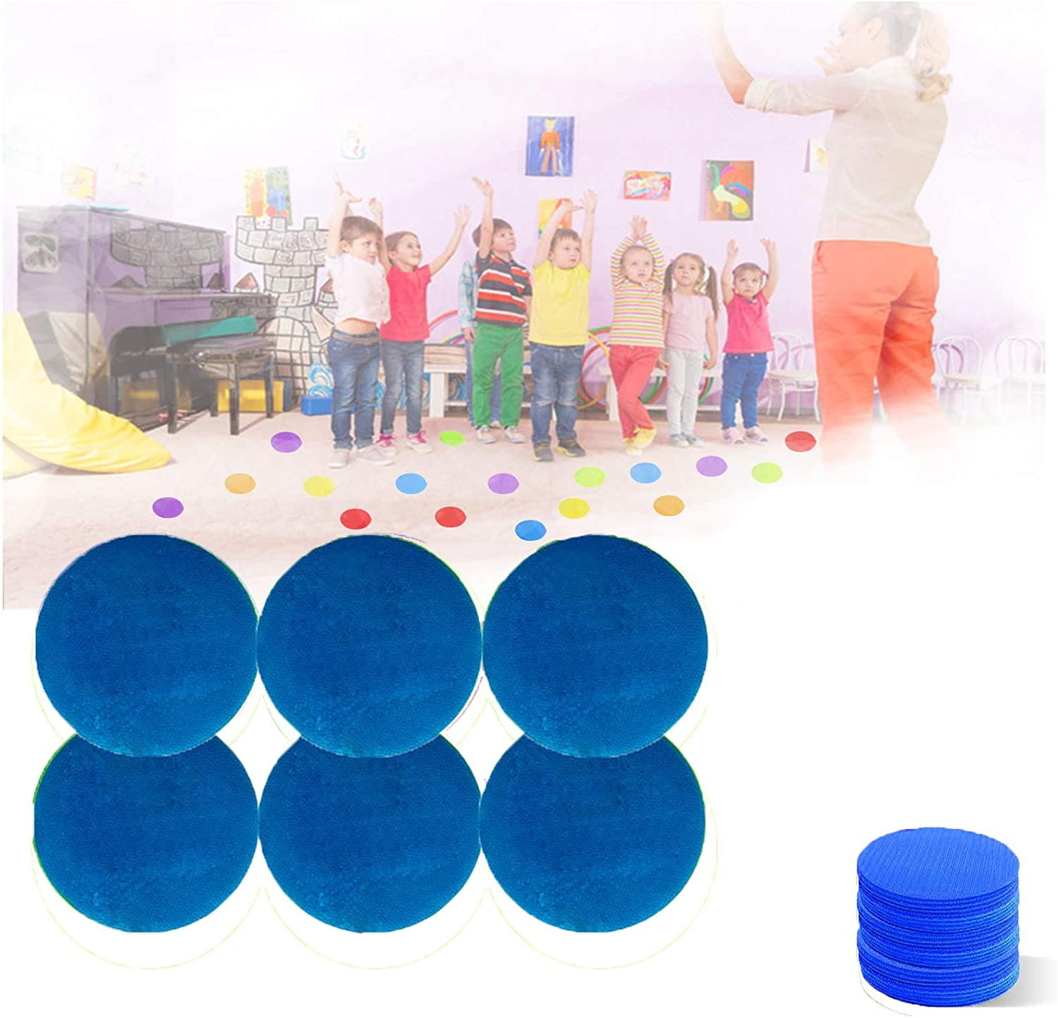 Mark Its Sitting Carpet Spots to Educate,Carpet Markers Sitting Spots,Rug Circles Marker Dots Carpet Spot Markers for Teachers, Preschool Kindergarten Kids and Gym (Blue,4 Inch)