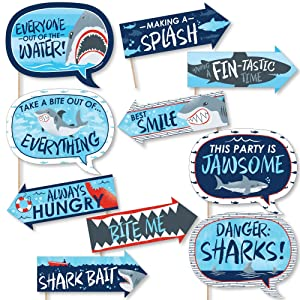 Funny Shark Zone - Jawsome Shark Party or Birthday Party Photo Booth Props Kit - 10 Piece