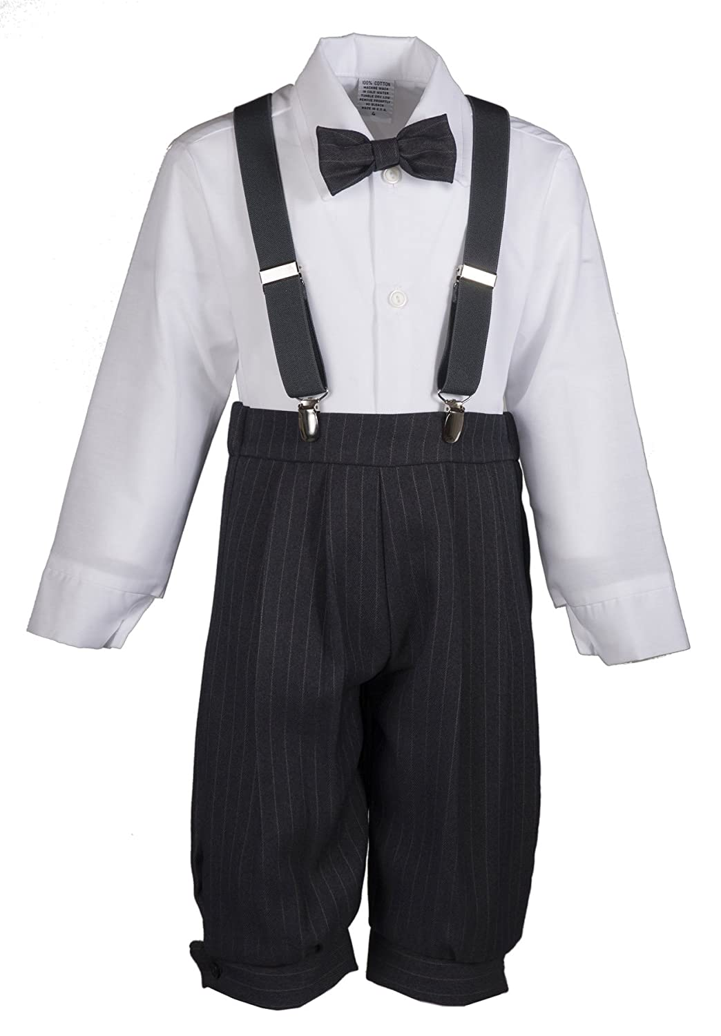 2ca01d0d7 Amazon.com: Boys Grey Pinstripe Knicker Set with Suspenders in Baby,  Toddler & Boys Sizes: Clothing