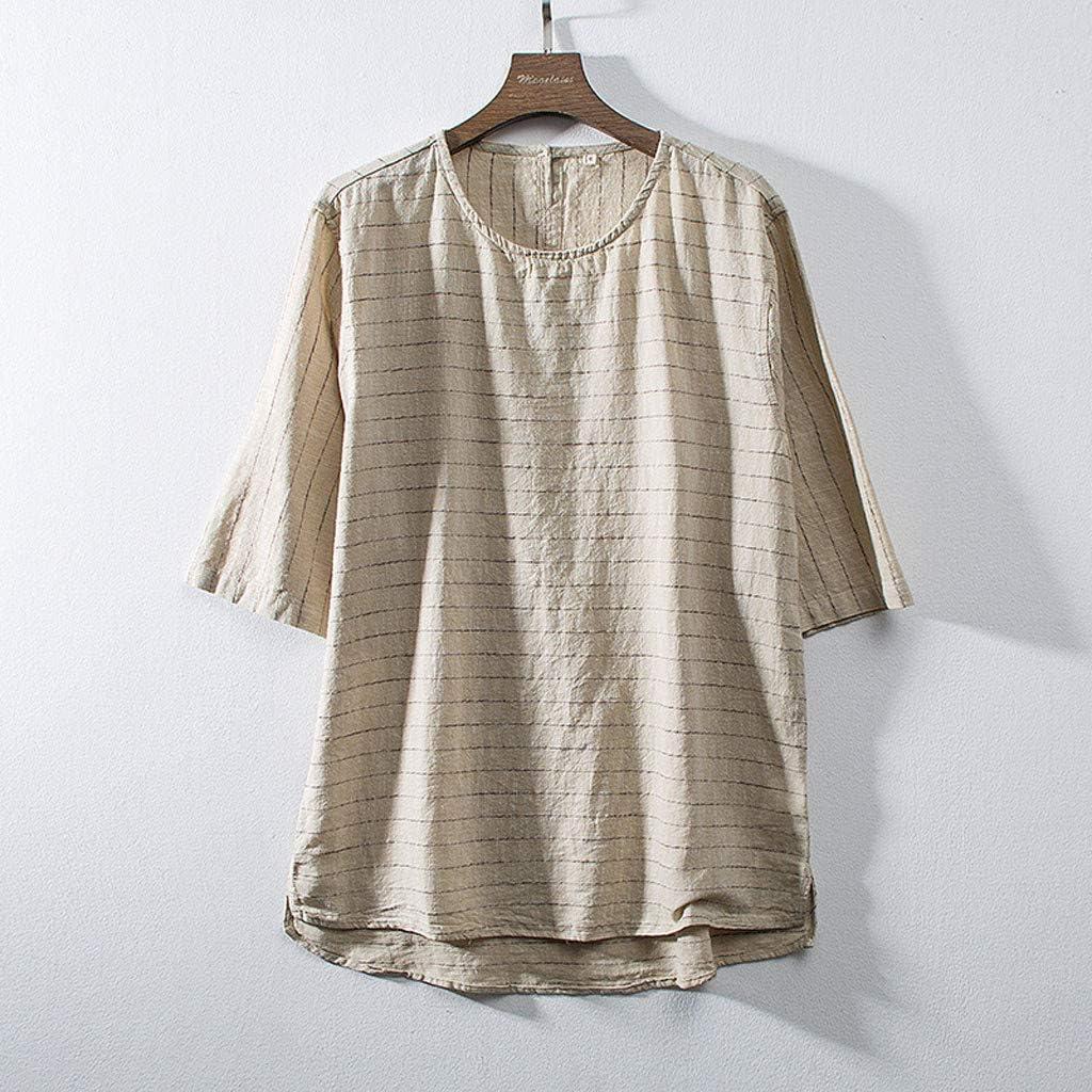 T-Shirt Uomo Vintage Uomo Tumblr Estiva Particolari Ginli Camicia Uomo Elegante Tinta Unita Cotone e Lino Manica Corta Casual