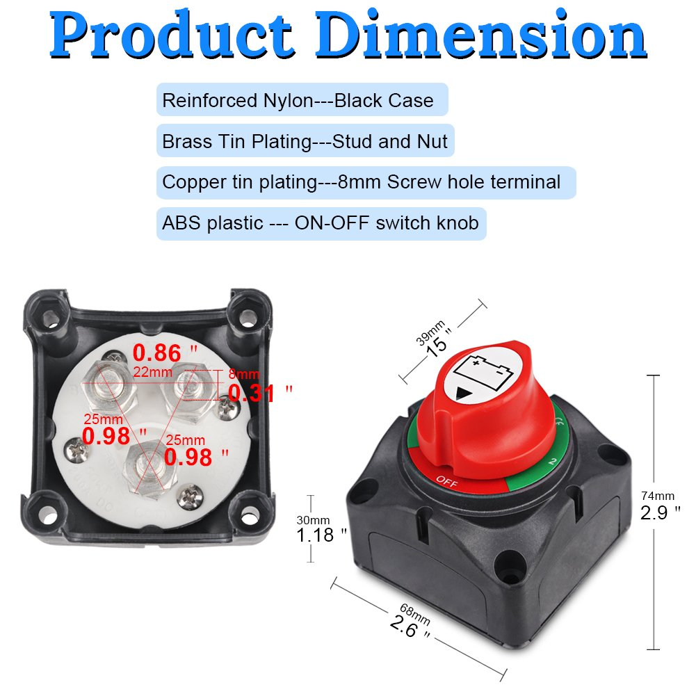 1-2-Both-Off WATERWICH DC12-60V Dual Battery Disconnect Switch Kit 1-2-both-off Isolator Selector Marine Battery Switches 200//1250 Amp Waterproof for Ship Boat Small Yacht RV Camper Truck Car Vehicle