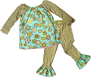 product image for Cheeky Banana Baby Toddler Girls Floral Tunic Top & Ruffle Leggings -Green Pink