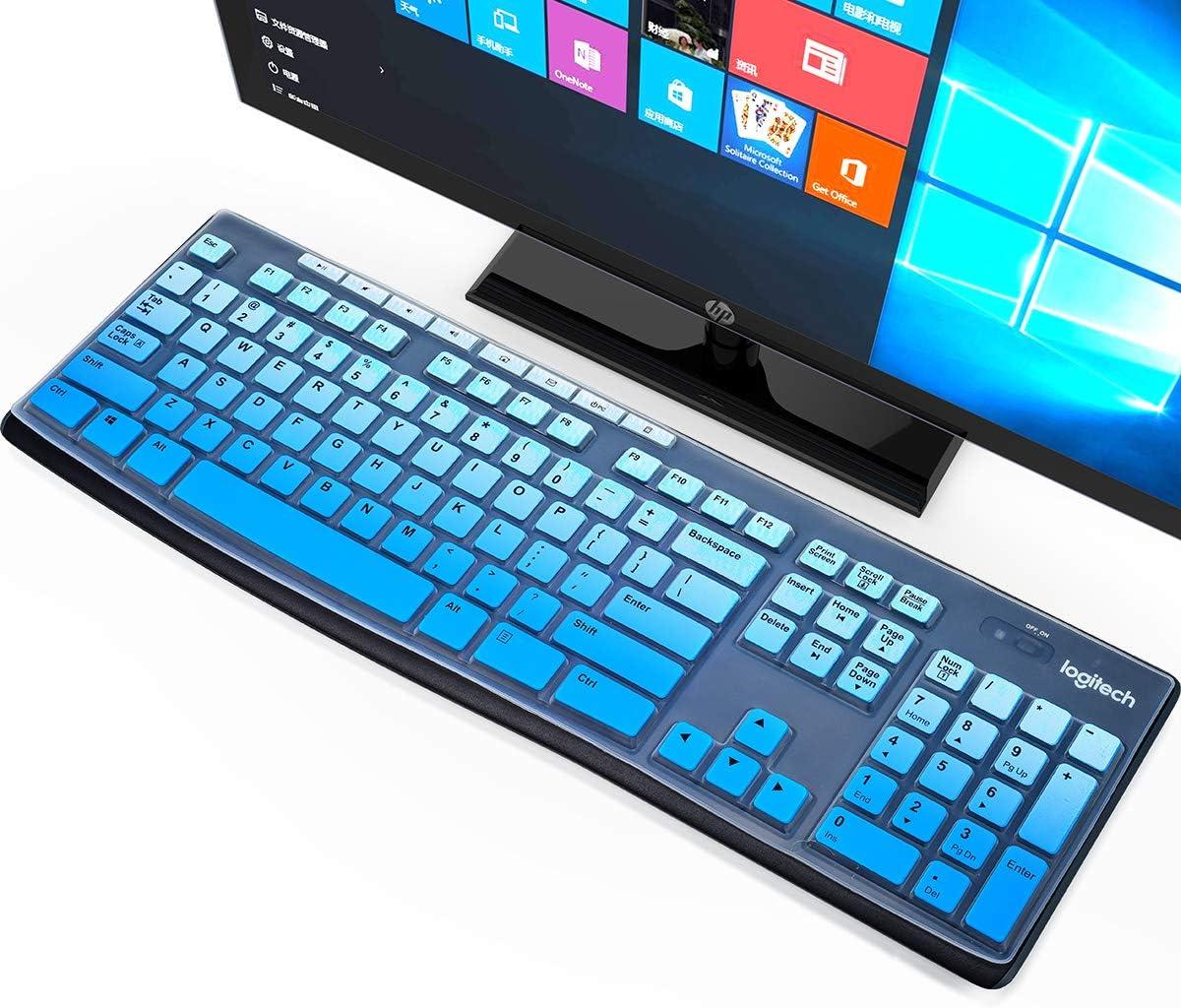 Keyboard Skin Cover for Logitech MK270 MK275 MK260 MK200 K270 K260 K200 Ultra Thin Soft Keyboard Skin Protector, Logitech Keyboard Accessories, Ombre Blue (US Layout)