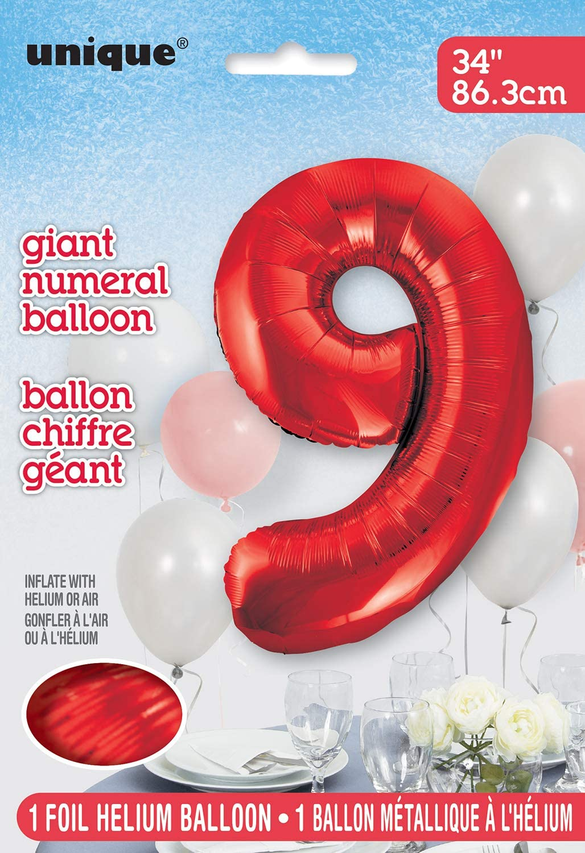 86,4/cm gro/ß Unique Party Supplies Folienballon im Zahlen-Design