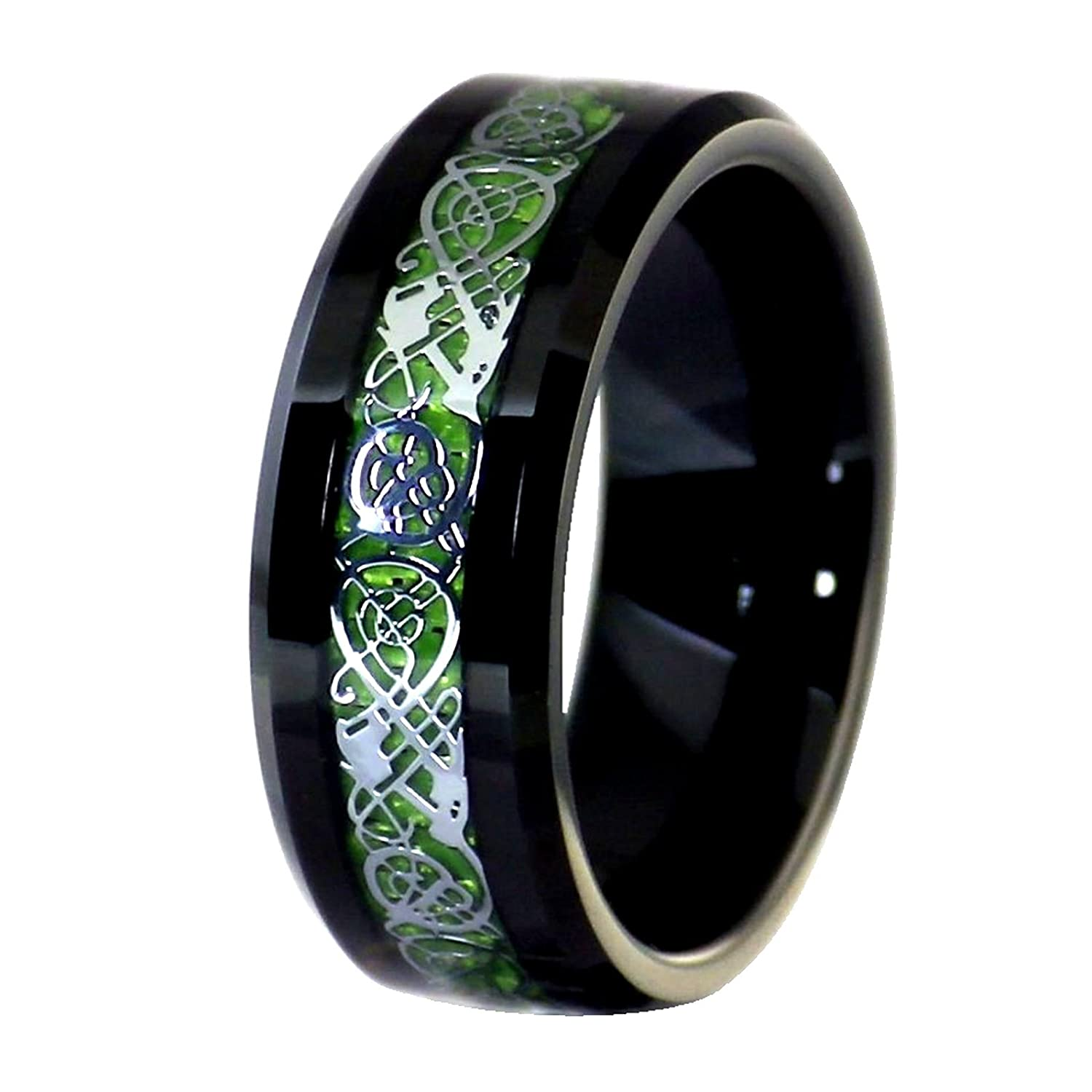 Unisex Black Tungsten Carbide 8mm Silver Tone Celtic Dragon Ring Green Carbon Fiber Wedding Band Size 6-17