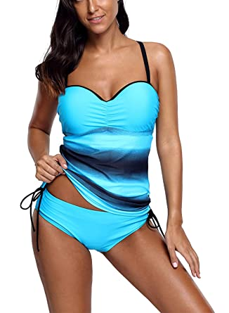 0e3364af3f867 Dokotoo Tankini Femme Push Up Amincissant Maillot de Bain Imprimé Tie-Dye  Swimwear Elegant Silm