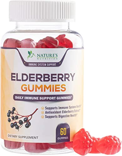 Elderberry Gummies Extra Strength Sambucus Gummy – Natural Immune System Support – Best Supplement with Vitamin C Zinc for Children Adults – 60 Gummies