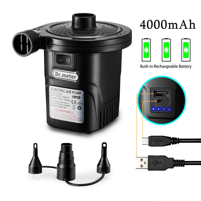 Dr.meter Inflador Electrico, Bomba de inflado eléctrica para Colchones de Aire y flotadores. Puerto USB para teléfono móvil, 3 boquillas Desmontables
