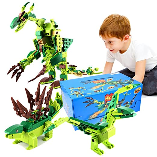 Ounier Dinosaur Building Blocks Set 471PCS,8 Small Boxs 25 Deformation Dinosaur Toys,Educational Dinosaur 3D puzzles For Children Over 6 Years Old And Adults,Gifts