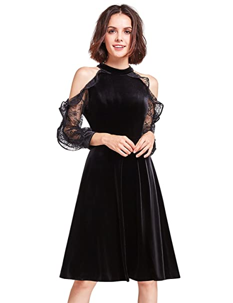 7e0f6032f46d Alisa Pan Cold Shoulder Velvet Christmas Party Dress 05896: Amazon.ca:  Clothing & Accessories