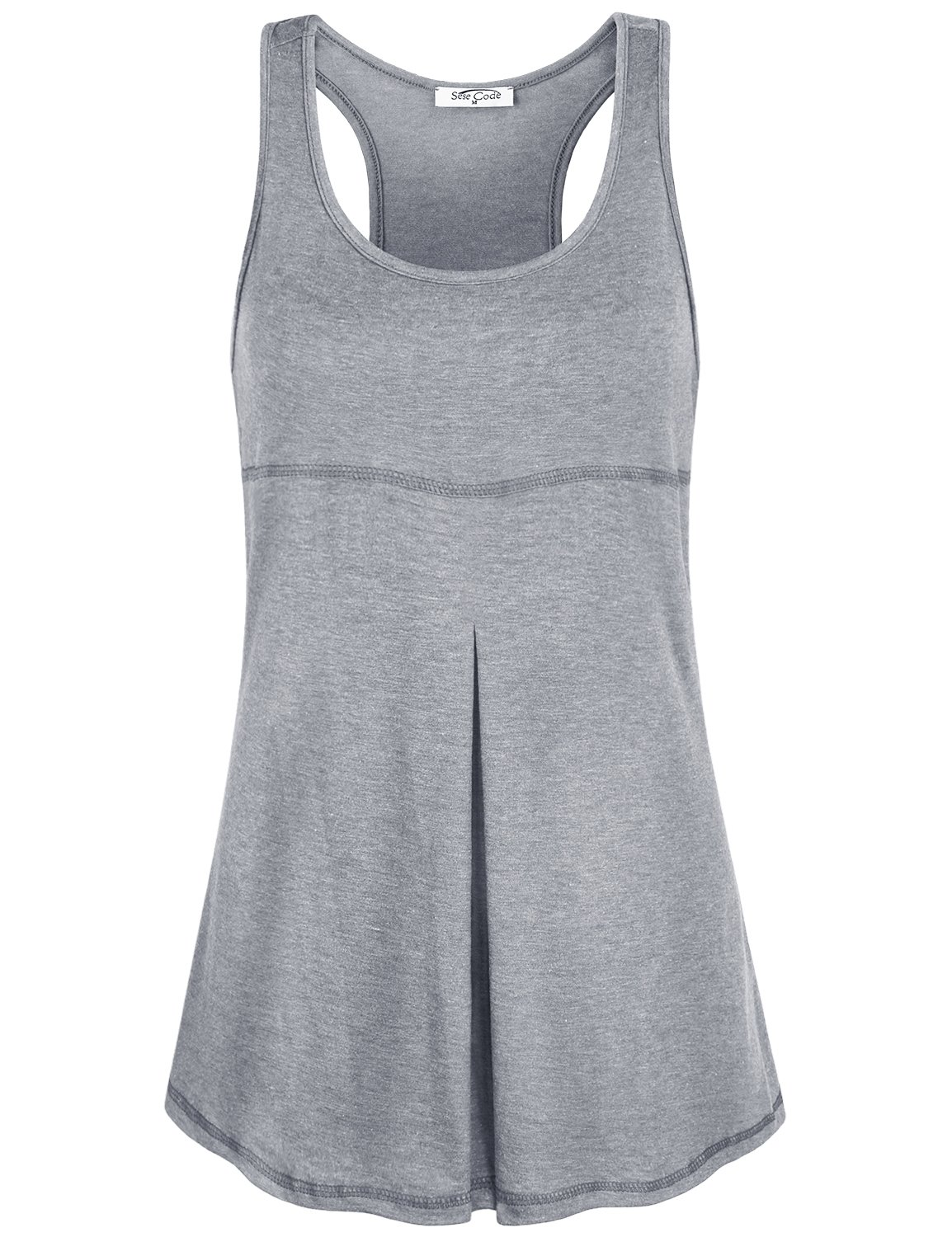 SeSe Code Wing Tank for Women, Juniors Summer Racerback Scoop Neck Sleeveless Front Pleats Tunics Stitching Designs Slim Fitted Elastic Fabric Solid Color Running Tops Mother's Day Dark Grey Medium