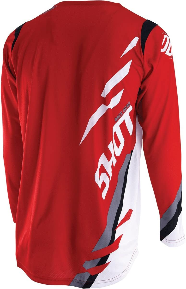 Shot Score Mens Off-Road Motorcycle Jersey Red//White//X-Large