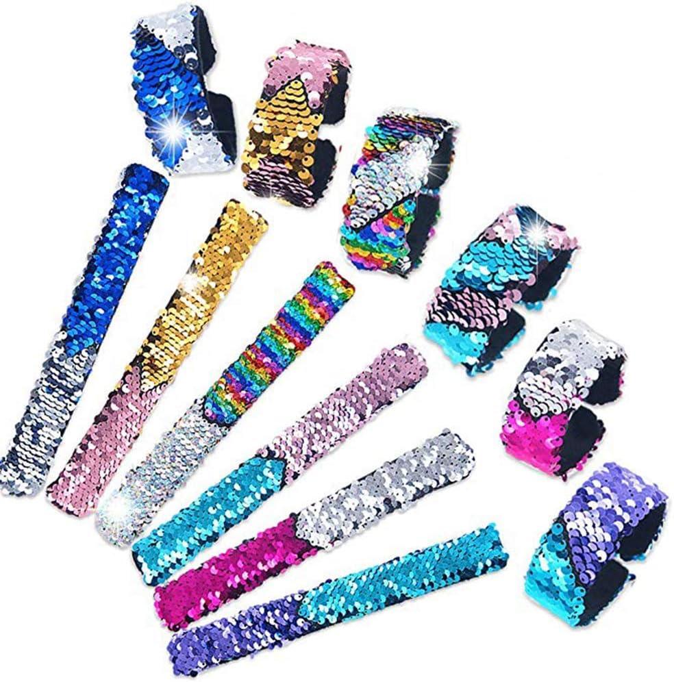 6 Pack Bracelet /à Paillettes Sir/ène Bande R/éversible /à Paillettes R/éversibles Pour Enfants Filles Gar/çons Sir/ène Fournitures F/ête Slap Bracelets Bracelet Magique