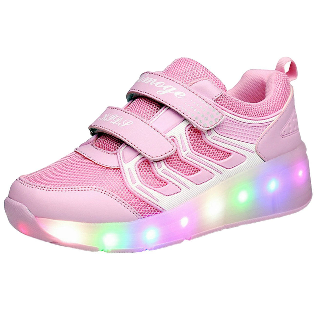 Chic Sources Girls Women Skate Sneaker Flash on Wheels Roller Shoes