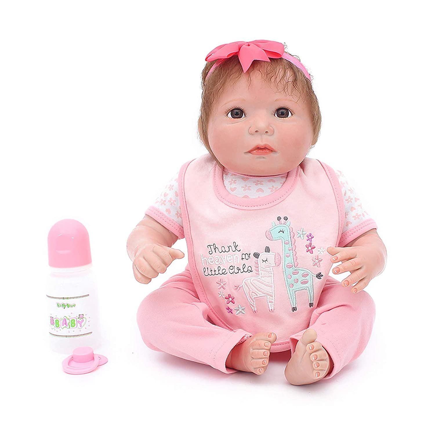 Warmdoll Real Life Reborn Baby Doll, 19 inch Girl Doll Crafted in Vinyl Like Silicone and Weighted Cloth Body Otard
