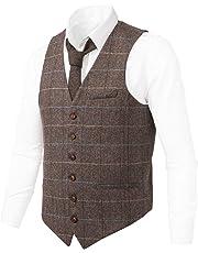 VOBOOM Men's Slim Fit Herringbone Tweed Suits Vest Wool Blend Waistcoat