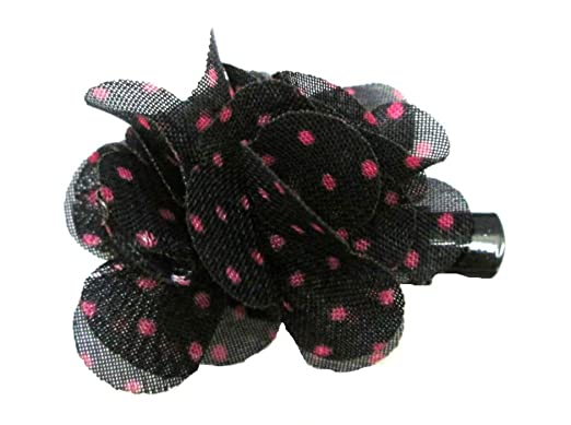 "4/""  Hot Pink /& White polka spot hair bow clip 50/'s Pin up Rockabilly Vintage"