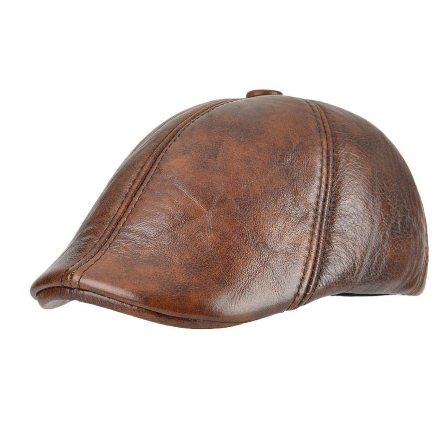 Genuine Leather Duckbill Flat Cap Six Panel Cabbie Gatsby Ivy Hat Winter Ear Protection Boina,Brown,57-58 cm