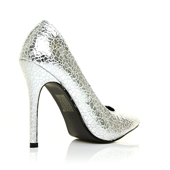 Toni Silver Crack Pattern Pointed Toe Court Shoes: Amazon.co.uk: Shoes &  Bags